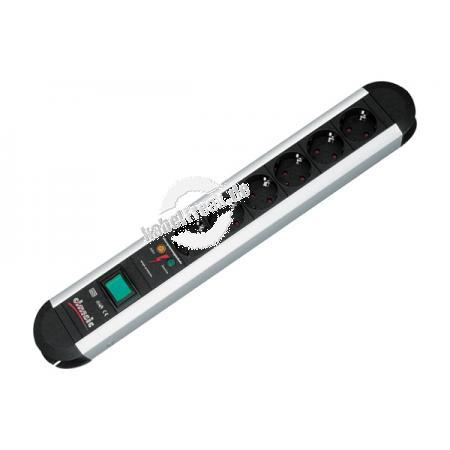Bachmann Steckdosen-Schutzleiste 'Primo', 6-fach, mit Überspannungsschutz und Schalter, Anschlussleitung 1,75 m Steckdosenleiste für den Profi