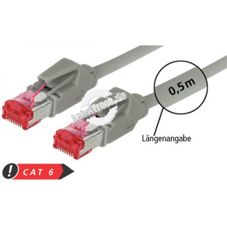 Patchkabel S/FTP, PiMF, CAT.6A EIA/TIA, Class EA, grau, 1,5 m Premium Patchkabel, Draka 1000MHz CAT.7 Rohkabel, Hirose TM21 Stecker, halogenfrei