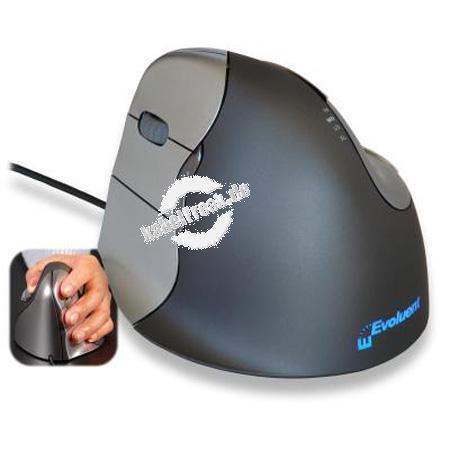 Evoluent VerticalMouse 4, für Linkshänder, USB, anthrazit / silber Optische Maus mit senkrechter Bediener-Oberfläche für ergonomisches Arbeiten