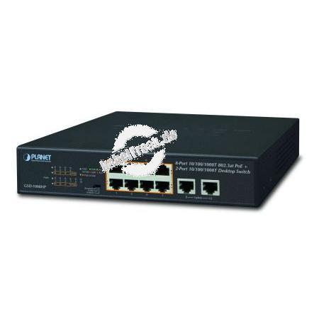 Planet Gigabit Switch GSD-1008HP, POE+, 802.3at, 10 x Gigabit RJ45 (8 x PoE), 120 Watt Flexible, erweiterbare und zentralisierte Energieverteilung
