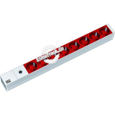 Bachmann 19' PDU Basic, Steckdosenleiste mit Sicherung,  Anschlusskabel mit C14 Stecker, 8-fach Schutzkontaktsteckdose