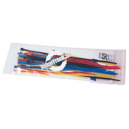 Kabelbinder Sortiment, 50 Stück farbig sortiert und verschiedene Größen (20 Stück 98 x 2,5mm, 20 Stück 200 x 2,3mm, 10 Stück 280 x 4,8mm) Sortiment von farbig gemixten Kabelbindern in einer Box