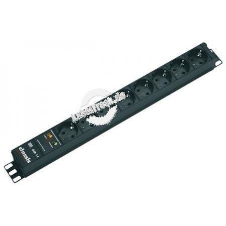 Bachmann 19' PDU Basic, Steckdosenleiste mit Überspannungsschutz, 8-fach Schutzkontaktsteckdose schwarz