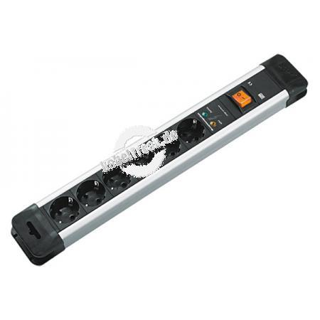 Bachmann Steckdosen-Schutzleiste 'Connectus', 6-fach, mit Überspannungsschutz und Schalter, Anschlussleitung 2,0 m, schwarz / silber