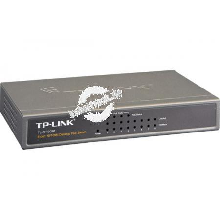 TP-Link Fast Ethernet Switch TL-SF1008P, 8 Port, Desktop, PoE Switch zum Anschluss von bis zu 8 PCs an ein Fast Ethernet Netzwerk