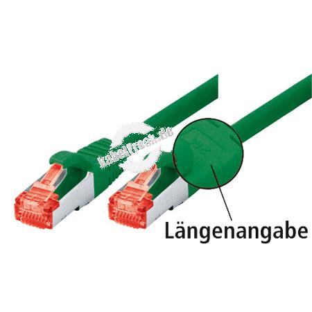 Tecline Patchkabel Cat. 6, S/FTP (PiMF), halogenfrei, mit Rastnasenschutz, grün, 15,0 m Geschirmtes Patchkabel mit schmalem Knickschutz