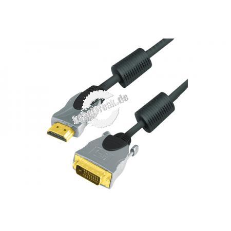 Professional HDMI DVI Kabel, High Quality, vergoldet, HDMI St. A / 24+1pol DVI-D St., 5,0 m Hochwertiges Anschlusskabel zur Übertragung von digitalen Monitorsignalen