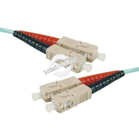 LWL Patchkabel HD, 50/125 μm, OM3-Faser,  SC Duplex Stecker/Stecker, aqua, 2,0 m UPC UPC-Schliff