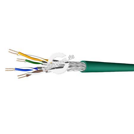 Draka Patchkabel UC900 SS27, Cat. 7, S/FTP (PiMF), halogenfrei, grün, 100 m Ring Paarweise und gesamtgeschirmtes Patchkabel