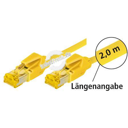 Tecline Patchkabel Cat. 6A (ISO/IEC), S/FTP (PiMF), halogenfrei, mit Rastnasenschutz, gelb, 2,0 m 10-Gigabit-fähiges Premiumpatchkabel mit Leoni Cat. 7 Rohkabel und Hirose Steckern
