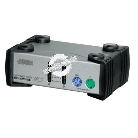ATEN KVM Switch, PS/2 und USB, 2-fach, Desktop, mit Anschlusskabeln 2 PCs mit PS/2- oder USB-Anschluss werden von 1 Arbeitsplatz (PS/2 Tastatur, Monitor, PS/2 Maus) gesteuert