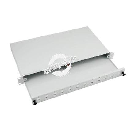 LWL Spleißbox, unbestückt, 24-fach SC Simplex / LC Duplex Frontblende, 19', ausziehbar, hellgrau RAL 7035 Spleißbox mit Frontblende zur Aufnahme von Pigtails