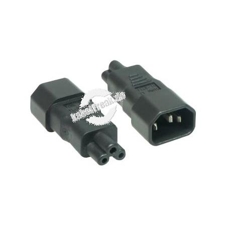 Netzspannungsadapter Kaltgerätestecker C14 auf 3 pol Buchse C5