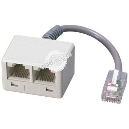 MetzConnect ISDN Verteiler, 2-fach, 1 x RJ45 St/2x RJ45 (8P8C) Bu, 10 cm Kabel