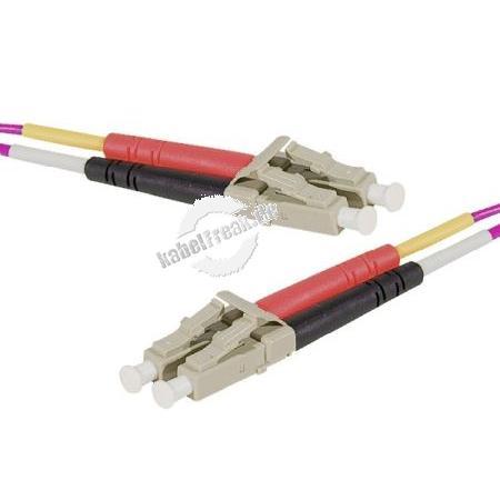 LWL Patchkabel, 50/125 µm, OM4-Faser, LC Duplex Stecker/Stecker, erikaviolett, 50,0 m