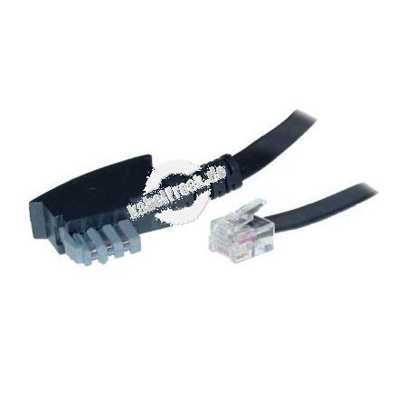 TAE N-Anschlusskabel TAE N St. / RJ12 St. (6P6C), Belegung variabel, schwarz, 3,0 m Zum Anschluss von Faxgeräten, Modems und Anrufbeantwortern an eine TAE-Anschlussdose