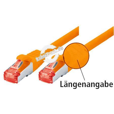 Tecline Patchkabel Cat. 6, S/FTP (PiMF), halogenfrei, mit Rastnasenschutz, orange, 1,0 m Geschirmtes Patchkabel mit schmalem Knickschutz