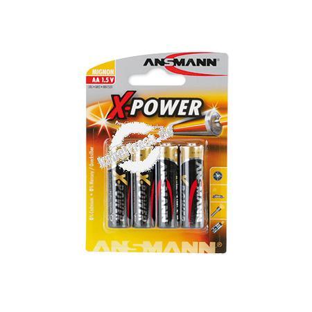 Ansmann X-Power Alkaline Batterie, Mignon (AA), VE: 4 Stück Batterie z. B. geeignet für verschiedene Garagentor-Fernbedienungen
