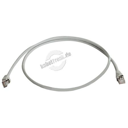 Telegärtner Patchkabel, S/FTP, PiMF, Cat.6A (ISO/IEC), grau, 7,5 m Für 10 Gigabit/s, halogenfrei, mit Telegärtner Kabel und Telegärtner-Steckern