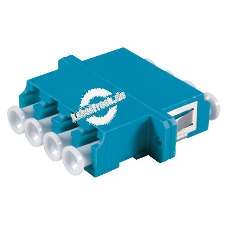 LWL Kupplung LC/LC, 4-fach, Singlemode, Kunststoff-Gehäuse mit Keramik-Ferrule, blau Für SC Duplex Ausbruch, Befestigung durch Clipse (optional durch Schrauben)
