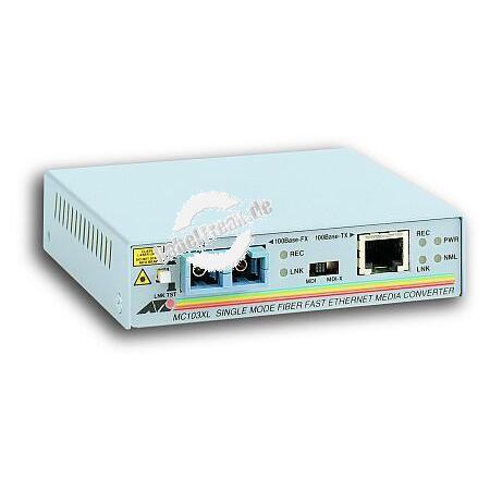 Allied Telesis Medienkonverter AT-MC103XL, 100 Mbit/s, RJ45 an LWL SC, Singlemode Zur Konvertierung von Fast Ethernet auf Kupferleitungen in LWL und umgekehrt