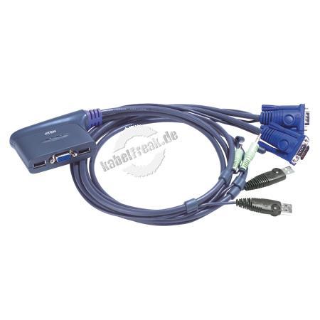 ATEN Petite KVM Switch mit Audio, USB, 2-fach Mehrere Pcs mit USB-Anschluss werden von 1 Arbeitsplatz (USB Tastatur, Monitor, USB Maus, Lautsprecher) gesteuert