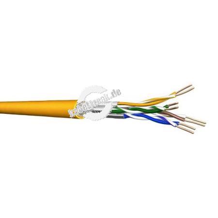 Draka Verlegekabel UC1500 SS22 Cat.7A, S/FTP, PiMF, melonengelb, 500 m Einwegtrommel Paarweise und gesamtgeschirmtes Netzwerk-Installationskabel