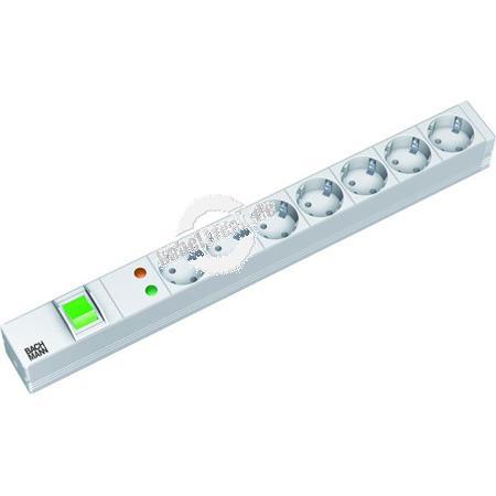 Bachmann 19' PDU Basic, Steckdosenleiste mit Überspannungsschutz und Schalter, 7-fach Schutzkontaktsteckdose