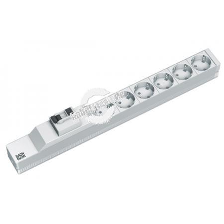 Bachmann 19' PDU Basic, Steckdosenleiste mit FI-Schutzschalter, 6fach Schutzkontaktsteckdose