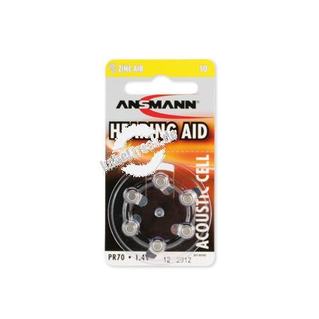 Ansmann Knopfzellen für Hörgeräte, Zinc-Air 10, VE 6 Stück