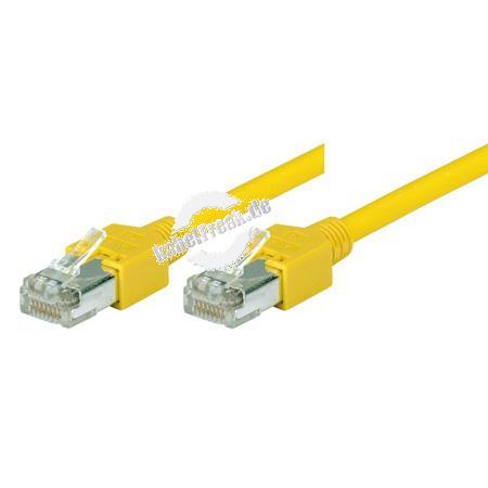 Tecline Patchkabel Cat. 5e, SF/UTP, halogenfrei, gelb, 25,0 m Kupferpatchkabel mit Draka Rohkabel und Hirose Steckern