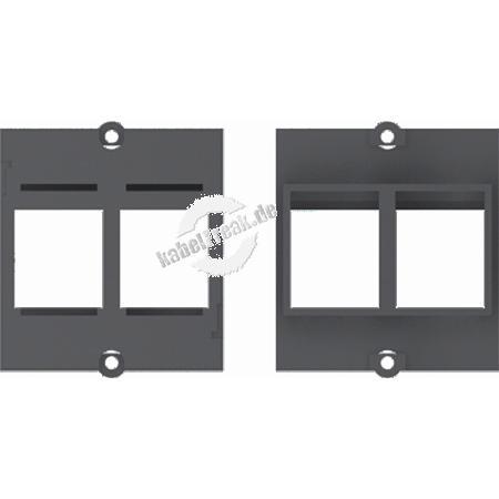 Bachmann Facility System Modul schwarz mit Aufnahme für 2 Datenbuchsen mit Keystone-Befestigung Einbaurahmen passend zu allen Modulträgern (DESK etc.),  für die Aufnahme von Standard-Keystone-Modulen geeignet