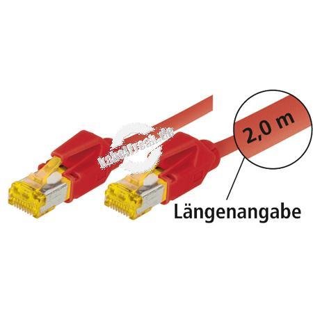 Tecline Patchkabel Cat. 6A (ISO/IEC), S/FTP (PiMF), halogenfrei, mit Rastnasenschutz, rot, 20,0 m 10-Gigabit-fähiges Premiumpatchkabel mit Leoni Cat. 7 Rohkabel und Hirose Steckern