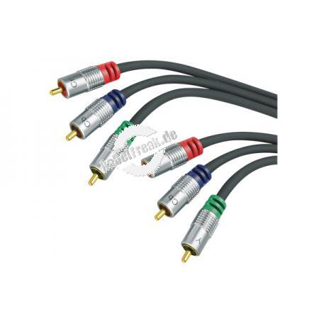 Professional Videokabel, High Quality, vergoldet, 3x Cinch St./3x Cinch St., 1,0 m Hochwertiges Videokabel zum Verbinden von Geräten mit Komponenten- (YUV-) Anschluss