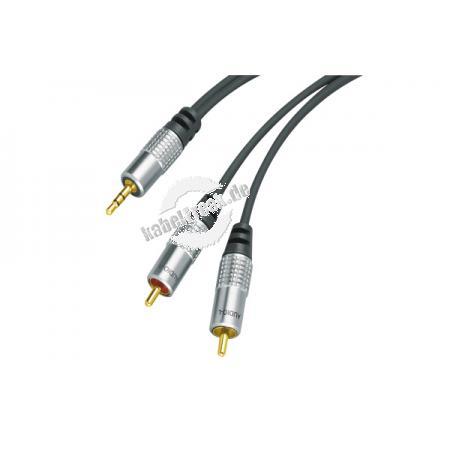 Professional Audiokabel, High Quality, 1x 3,5 mm Stereo Klinkenst. / 2x Cinch St., 3,0 m Hochwertiges Kabel zum Verbinden von Geräten mit 3,5 mm StereoKlinkenbuchse (z. B. Mp3-player oder Soundkarte) und Cinch-Buchsen