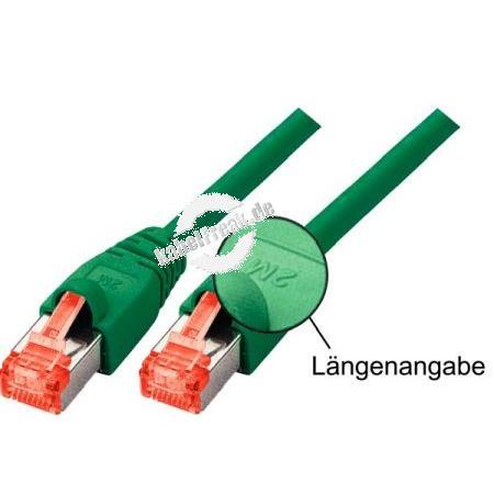 Tecline Patchkabel Cat. 6, S/FTP (PIMF), halogenfrei, grün, 0,5 m Geschirmtes Patchkabel mit Rastnasenschutz