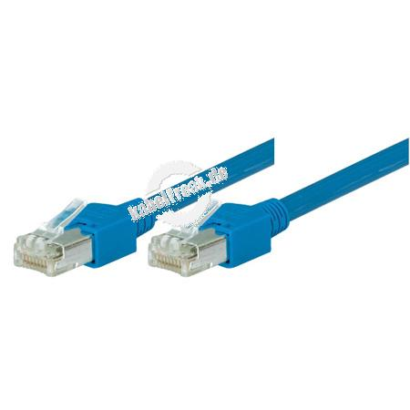 Tecline Patchkabel Cat. 5e, SF/UTP, halogenfrei, blau, 20,0 m Kupferpatchkabel mit Draka Rohkabel und Hirose Steckern