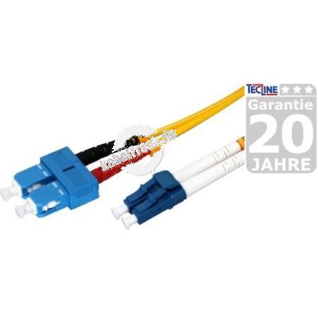 LWL Patchkabel, 9/125 µm, OS2-Faser, SC Duplex Stecker/LC Duplex Stecker, gelb, 15,0 m UPC-Schliff