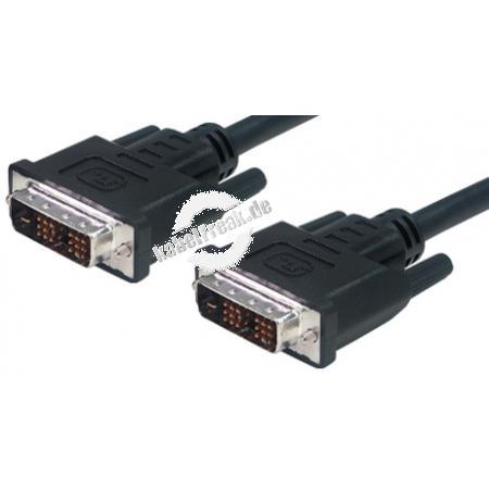 DVI Monitorkabel, Duallink+analog, 24+5pol DVI-I St./St., 5,0 m Zum Anschluss von Monitoren und Beamern mit DVI-Anschluss an DVI-Grafikkarten