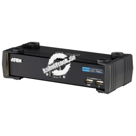 ATEN DVI KVM Switch CS1762A mit Audio, USB, 2-fach, Desktop, mit Anschlusskabeln Mehrere Pcs mit USB-Anschluss werden von 1 Arbeitsplatz ( USB Tastatur, DVI Monitor, USB Maus, Lautsprecher, Mikrofon, 2 USB 2.0 Peripheriegeräte) gesteuert