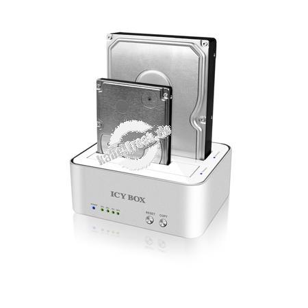 ICY BOX SATA Docking- und Klonstation IB-120CL-U3, USB 3.0, weiß / silber 2-fach Dockingstation mit Klonfunktion für 2,5' und 3,5' SATA Festplatten, mit JBOD und USB 3.0