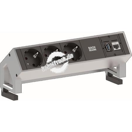 Bachmann DESK 2 Facility System, 3 x Schutzkontakt, 1 x Cat6, 1 x USB, weiß modulares System in modernem Design für die Befestigung an der Tischkante