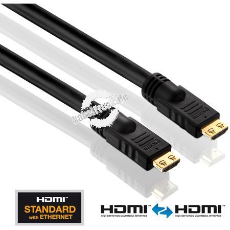 PureLink PureInstall Serie HDMI High Speed Kabel mit Ethernet, vergoldet, HDMI St. A / HDMI St. A, 20,0 m Hochwertiges Anschlusskabel zur Übertragung von digitalen Monitor- und TV-Signalen
