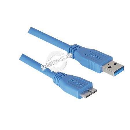 Micro USB 3.0 Kabel, USB 3.0 St. A / USB 3.0 Micro St. B, 3,0 m, blau Unterstützt Transferraten bis USB Superspeed (5 Gigabit/s)