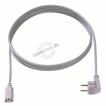 Bachmann Kaltgerätekabel, Schutzkontaktstecker an C13 Buchse, 0,75 m, grau qualitativ hochwertiges Kaltgeräteanschlusskabel