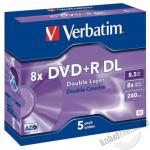 Verbatim DVD +R DL, Dual Layer / Double Layer, 8,5 GB, 8x, 5er Pack, Jewel Case
